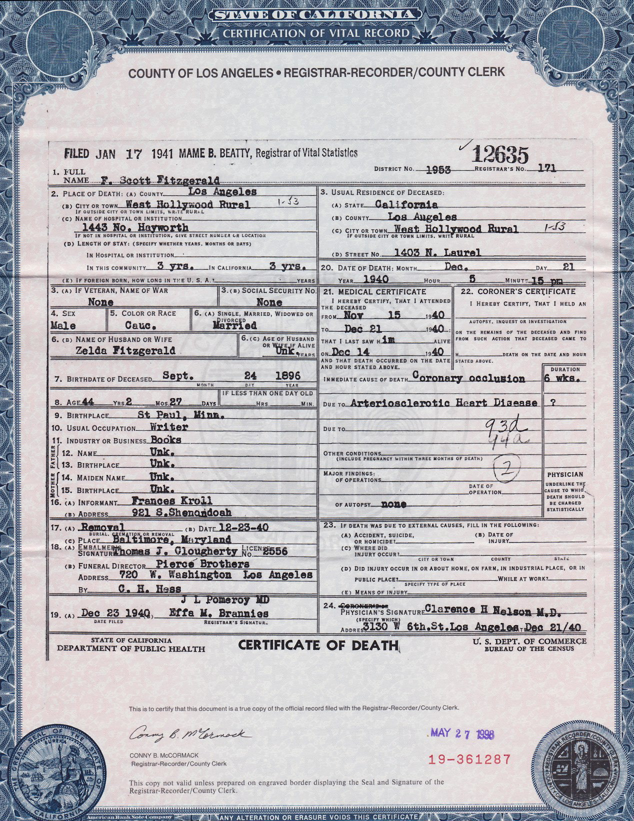 Undoing one of los angeles literary myths richard levesque f scott fitzgeralds death certificate 1betcityfo Images
